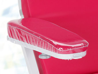 Transparent, cleanable protective cover for full foam (foamed) armrests, wedge-shaped armrests and low wedge-shaped armrests