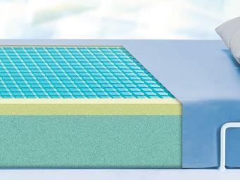 Matratze (Gel-Einlage) mit PU-Überzug in hellblau, Anti-Dekubitus