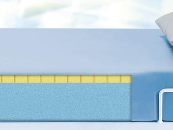 Mattress (polyurethaneo-foam) with PU-cover in light blue (2- layer foam) for people with more than 175 kg