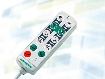 Handschalter A4 mit Tasten für Grundeinstellungen (Sitz-, Bett- und Trendelenburgposition) und manueller Sperrfunktion