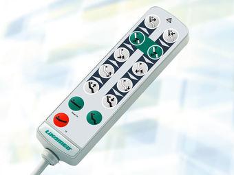Handschalter A5 mit Tasten für Grundeinstellungen (Sitz-, Bett- und Schockposition) und manueller Sperrfunktion