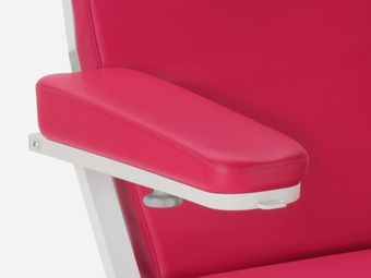 Low wedge-shaped foam armrests  of imitation leather incl. hand switch holder, right and left