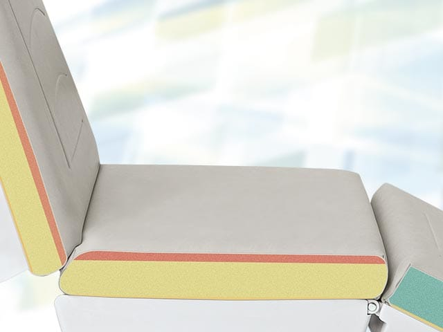Upholstery without decorative stiching at seat part, with special soft seat part